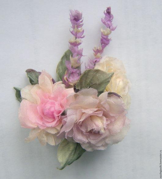Цветы ручной работы. Ярмарка Мастеров - ручная работа. Купить Букетик роз для куклы. Handmade. Цветы из шелка, миниатюрная брошь