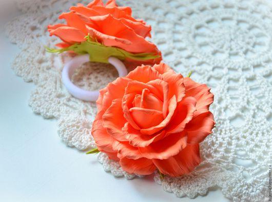 """Детская бижутерия ручной работы. Ярмарка Мастеров - ручная работа. Купить Резиночки для волос с розочкой """"Вкусняшка"""" яркая оранжевая. Handmade."""