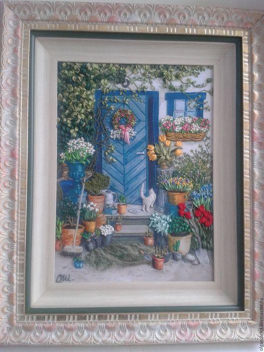 Картины цветов ручной работы. Ярмарка Мастеров - ручная работа. Купить Весна в саду. Handmade. Вышивка, цветы, бежевый, мулине
