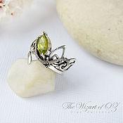 Украшения handmade. Livemaster - original item Silver ring with elven chrysolite. Handmade.