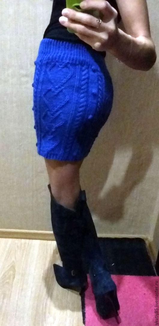 """Юбки ручной работы. Ярмарка Мастеров - ручная работа. Купить Юбка спицами """" Сердечки"""". Handmade. Синий, юбка спицами"""
