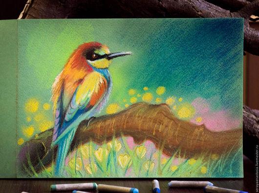 """Животные ручной работы. Ярмарка Мастеров - ручная работа. Купить Картина пастелью """"Райская птица"""". Handmade. Желтый, птица на ветке"""