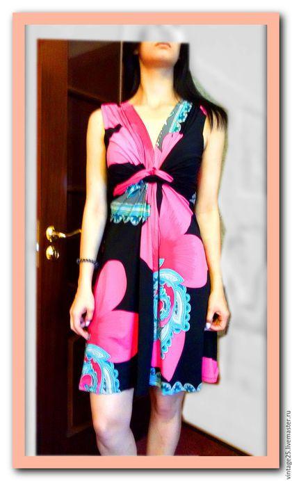 Одежда. Ярмарка Мастеров - ручная работа. Купить Красивое платье винтаж с огурцами пейсли. Handmade. Комбинированный, яркое платье, стейч