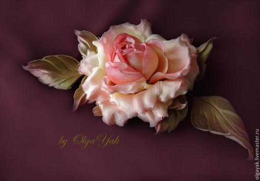Броши ручной работы. Ярмарка Мастеров - ручная работа. Купить Цветы из шелка. Цветы из ткани. Роза Красотка. Handmade. Кремовый