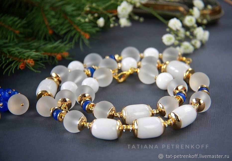 Necklace 'Winter morning' - agate, crystal, gilding, Necklace, Moscow,  Фото №1