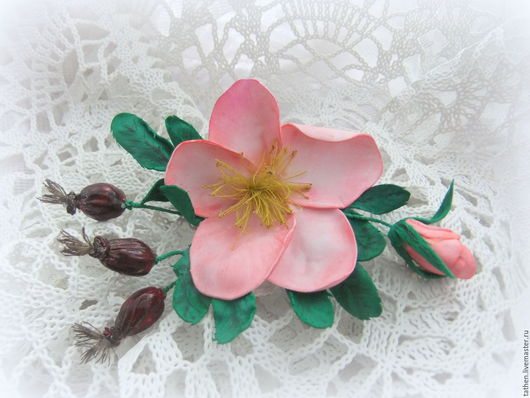 Броши ручной работы. Ярмарка Мастеров - ручная работа. Купить Розовый шиповник. Handmade. Бледно-розовый, нежно-розовый