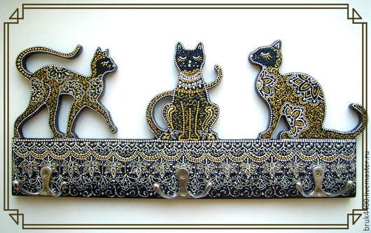 """Прихожая ручной работы. Ярмарка Мастеров - ручная работа. Купить вешалка - ключница """"Изысканность"""". Handmade. Комбинированный, котенок, вешалка"""