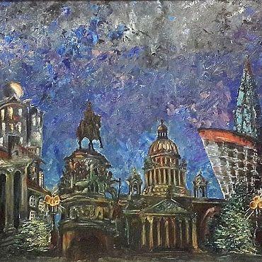 """Картины и панно ручной работы. Ярмарка Мастеров - ручная работа Картина """"Таинства ночного города"""". Handmade."""