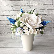 Цветы и флористика handmade. Livemaster - original item Bouquet with white and blue flowers. Handmade.