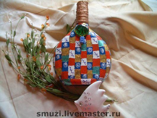 Подарочное оформление бутылок ручной работы. Ярмарка Мастеров - ручная работа. Купить ПЕЧВОРК  плоская бутылка (без содержимого). Handmade.