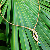 Necklace handmade. Livemaster - original item Unforgettable necklace! Diamonds with emerald in 14K!. Handmade.