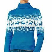 """Одежда ручной работы. Ярмарка Мастеров - ручная работа Свитер """"норвежские олени"""" синий. Handmade."""