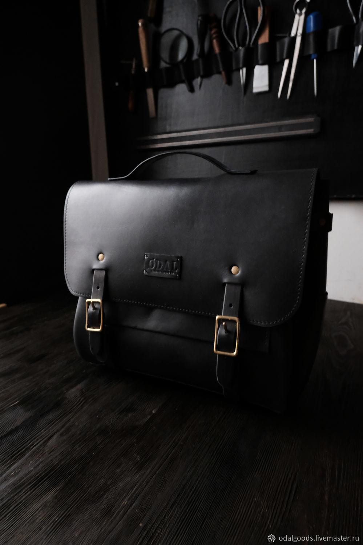 Men's messenger bag (size S) black, briefcase over the shoulder, Brief case, St. Petersburg,  Фото №1