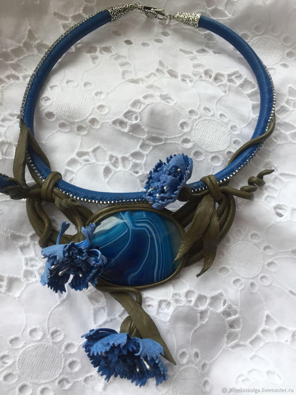 Necklace of leather and stone .Cornflower blue summer, Necklace, Krasnoyarsk,  Фото №1