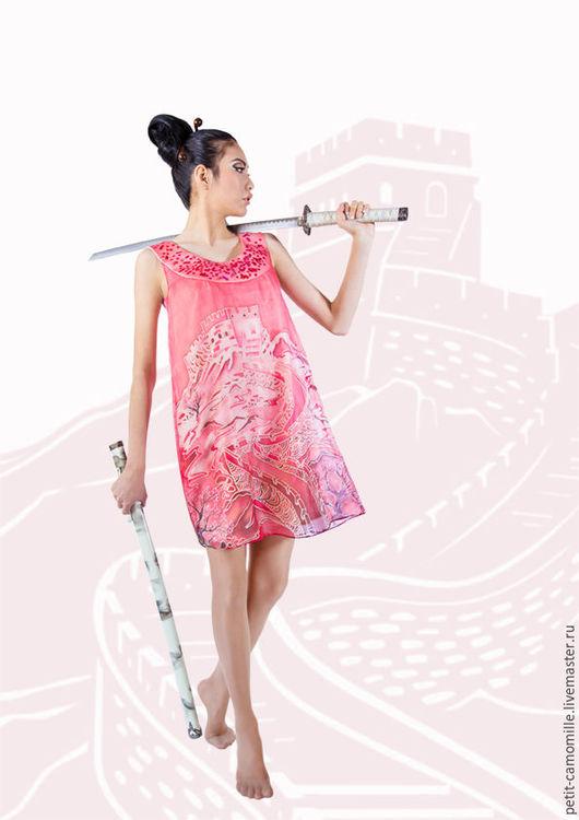 """Платья ручной работы. Ярмарка Мастеров - ручная работа. Купить Шелковое платье """"Великая стена"""". Handmade. Коралловый, платье летнее"""