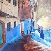 Картины и панно ручной работы. Ярмарка Мастеров - ручная работа Картина маслом Голубой город. Марокко. Handmade.