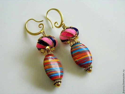 Серьги ручной работы. Ярмарка Мастеров - ручная работа. Купить Серьги с разноцветной яшмой и бусинами в стиле Пандора. Handmade.