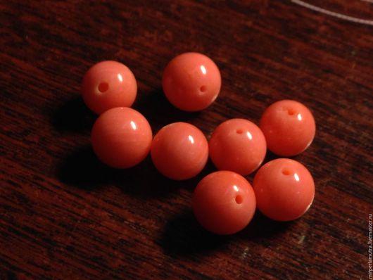"""Для украшений ручной работы. Ярмарка Мастеров - ручная работа. Купить Бусина """"Коралловый шар""""  9 мм, коралл. Handmade."""