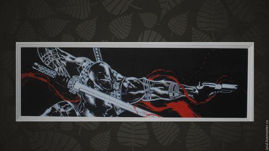 Люди, ручной работы. Ярмарка Мастеров - ручная работа. Купить самурай (черное). Handmade. Комбинированный, картина в подарок, картина для интерьера