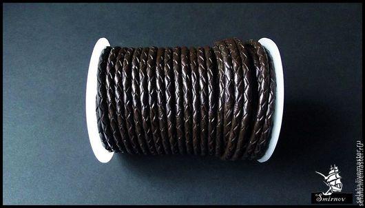 Для украшений ручной работы. Ярмарка Мастеров - ручная работа. Купить Плетеный шнур из натуральной кожи (4 мм.). Handmade.