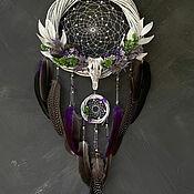 Для дома и интерьера handmade. Livemaster - original item Dreamcatcher white and purple with amethyst. Handmade.