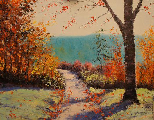 """Пейзаж ручной работы. Ярмарка Мастеров - ручная работа. Купить Картина маслом """"Осенний пейзаж"""". Handmade. Оранжевый, картина в подарок"""