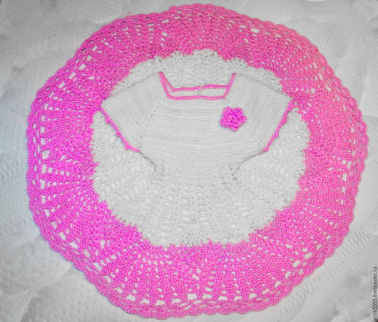 Одежда для девочек, ручной работы. Ярмарка Мастеров - ручная работа. Купить Розово-белое платье для девочки. Handmade. Розовый, для новорожденного