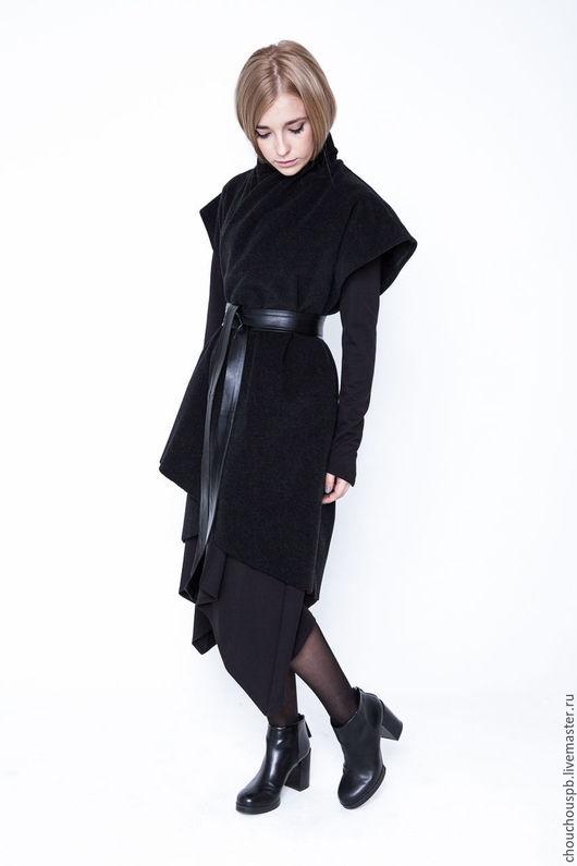 """Верхняя одежда ручной работы. Ярмарка Мастеров - ручная работа. Купить Пальто без рукавов из кашемира """"Sleeveless"""". Handmade. Черный"""