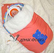 """Работы для детей, ручной работы. Ярмарка Мастеров - ручная работа Конверт для новорожденного 2 в 1 """"Сонный мишка"""" коралловый. Handmade."""
