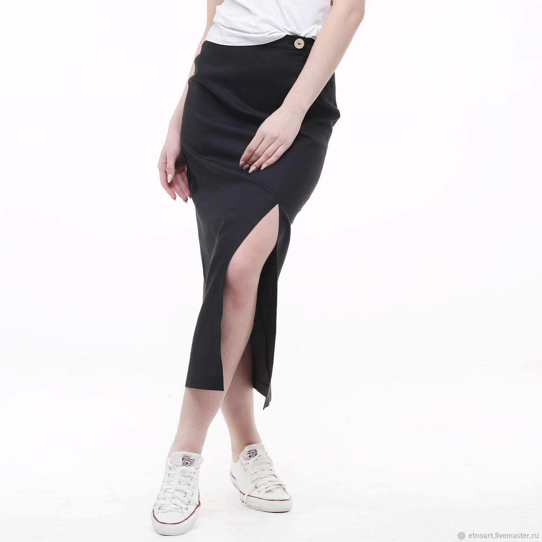 Feminine split skirt made of 100% linen, Skirts, Tomsk,  Фото №1