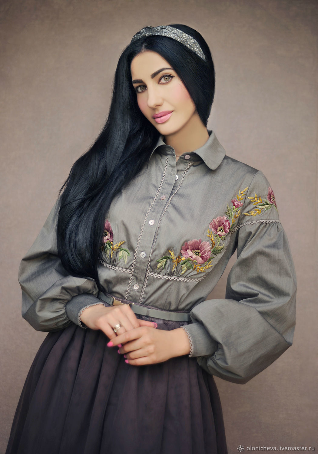 Embroidered blouse 'Smoky evening' elegant blouse with embroidery, Blouses, Vinnitsa,  Фото №1