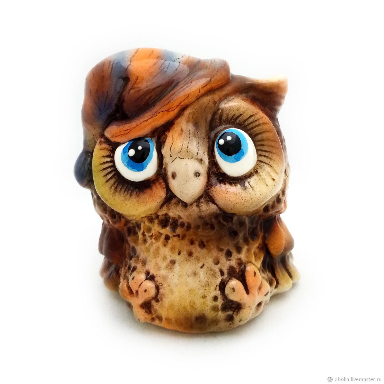 Ceramic statuette ' owl in a hat', Figurine, Balashikha,  Фото №1