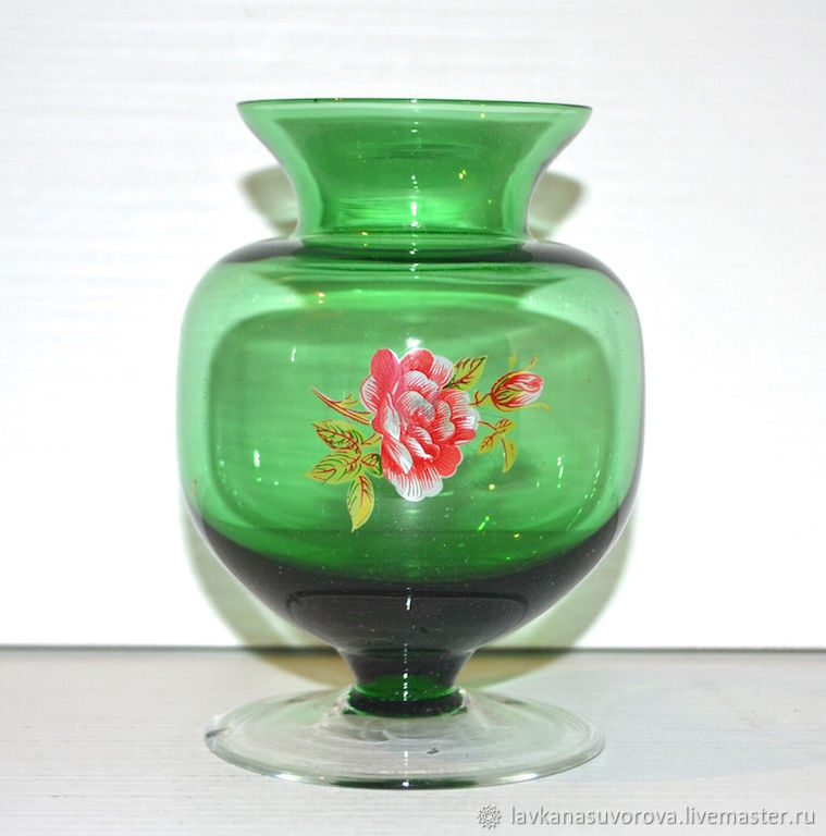 VASE vase, the Soviet Union green glass 11,5 cm, Vintage mugs, Rostov-on-Don,  Фото №1