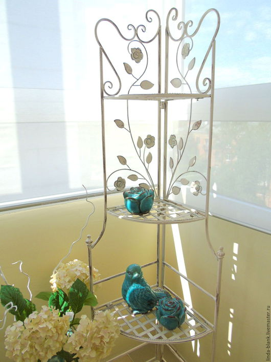 Другие виды рукоделия ручной работы. Ярмарка Мастеров - ручная работа. Купить Cтеллаж угловой   4 полки белый цветок  витрина  металл. Handmade.