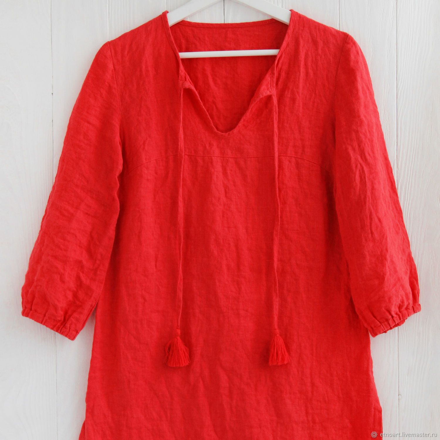 Red linen tunic in boho style, Tunics, Tomsk,  Фото №1