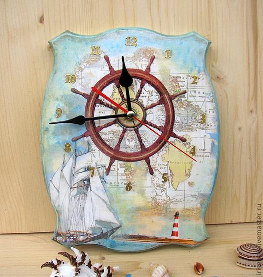 """Часы для дома ручной работы. Ярмарка Мастеров - ручная работа. Купить """"У штурвала"""", часы. Handmade. Голубой, штурвал, морской"""