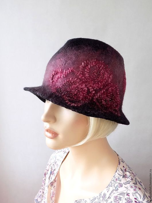 """Шляпы ручной работы. Ярмарка Мастеров - ручная работа. Купить Шляпка """"Воспоминания"""". Handmade. Темно-серый, бордовый, дизайнерская шляпка"""