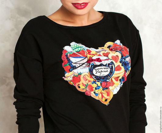 """Кофты и свитера ручной работы. Ярмарка Мастеров - ручная работа. Купить Свитшот  """"Сладкое сердце"""". Handmade. Черный, варенье"""
