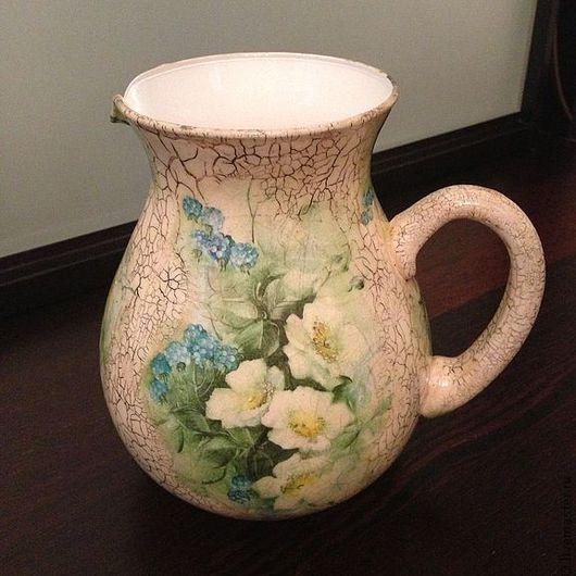 """Вазы ручной работы. Ярмарка Мастеров - ручная работа. Купить Кувшин """"Цветочный"""". Handmade. Белый, ваза для цветов, для дома"""