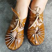 """Обувь ручной работы. Ярмарка Мастеров - ручная работа Светло-коричневые кожаные сандалии """"Sandy Summer"""". Handmade."""