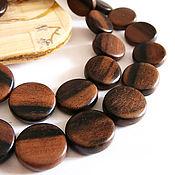 Материалы для творчества handmade. Livemaster - original item Beads black Ebony Kamagong coin 15h3mm. Handmade.