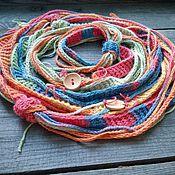 Аксессуары handmade. Livemaster - original item Scarf Bright Creative Positive Bamboo Knit Rainbow Boho. Handmade.
