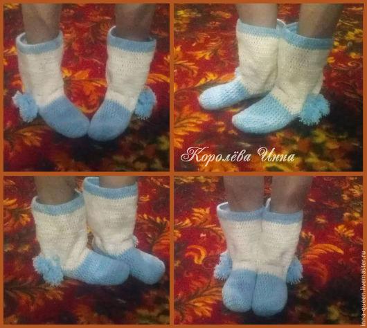 Обувь ручной работы. Ярмарка Мастеров - ручная работа. Купить Сапожки-тапочки домашние вязаные. Handmade. Комбинированный, Сапожки