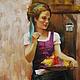 Люди, ручной работы. Ярмарка Мастеров - ручная работа. Купить Картина Цветочница. Handmade. Разноцветный, корзина с цветами, холст на подрамнике
