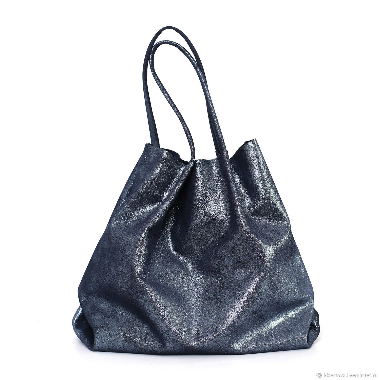 Shiny blue Leather bag shopper Bag Tote bag string Bag, Tote Bag, Moscow,  Фото №1