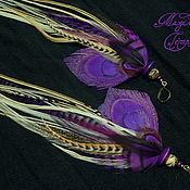 Украшения handmade. Livemaster - original item Beige and purple earrings with peacock feather. Handmade.