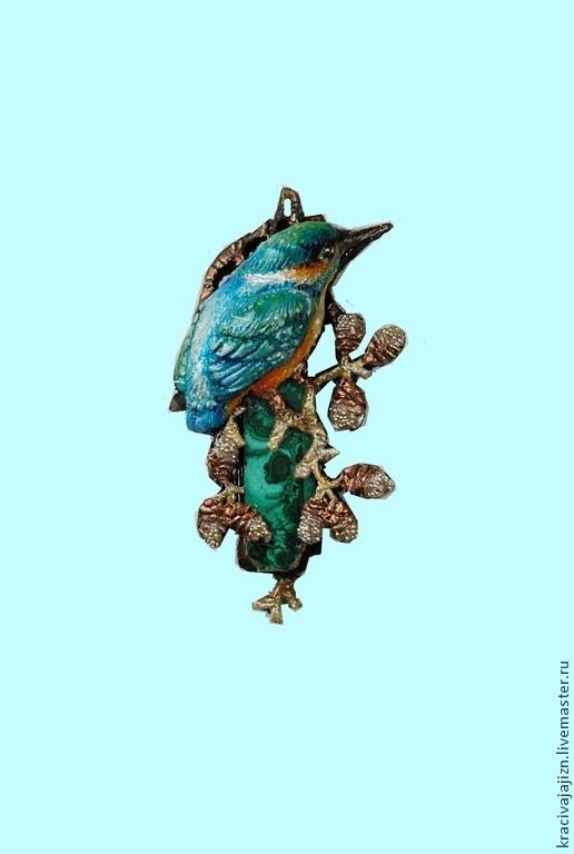 """Кулоны, подвески ручной работы. Ярмарка Мастеров - ручная работа. Купить кулон """"Зимородок"""". Handmade. Синий, кулон"""
