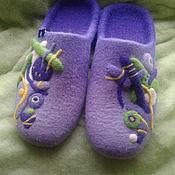 """Обувь ручной работы. Ярмарка Мастеров - ручная работа валяные тапочки """" Фиолетовый бунт"""". Handmade."""