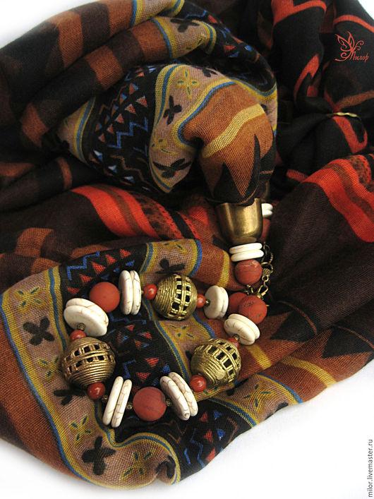 """Шарфы и шарфики ручной работы. Ярмарка Мастеров - ручная работа. Купить """"Танцы на песке"""" Шарф -  колье с браслетом. Handmade."""