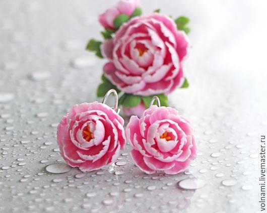 """Серьги ручной работы. Ярмарка Мастеров - ручная работа. Купить """"Нежный пион"""" серьги. Handmade. Розовый, полимерная глина, пионы"""